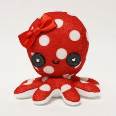 Retro red polka dot octopus plushie by ~jaynedanger on deviantART