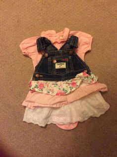 OshKosh Baby Girls Jean Overall Dress with Pink Body Suit - 6M EUC/VGUC #OshKoshBgosh #EverydayHoliday