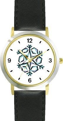 Snowflake or Snow Flake Christmas Theme - WATCHBUDDY® DELUXE TWO-TONE THEME WATCH - Arabic Numbers - Black Leather Strap-Children's Size-Small ( Boy's Size & Girl's Size ) WatchBuddy. $49.95