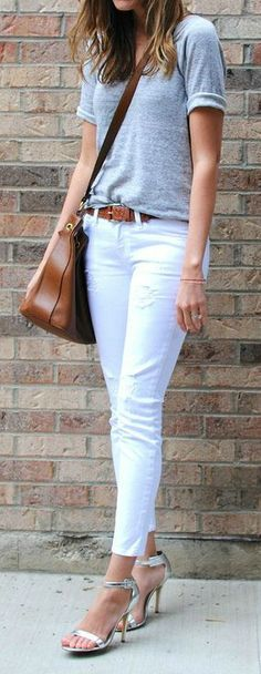Grey Tee + White Jeans
