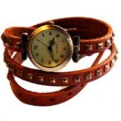Britanny Wrap Watch Leather Bracelet Camel
