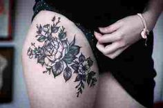 Floral upper thigh tattoo... smaller with different flowers COLOR