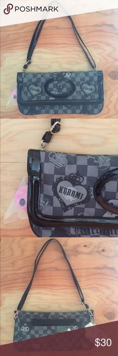 "Kuromi patent purse Magnetic snaps 13"" long x6 5/8"" adjustable strap Sanrio Bags Shoulder Bags"