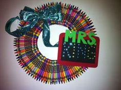 Crayon Wreath, Teacher Wreath, Teacher, Wreath, Crayon. $40.00, via Etsy.
