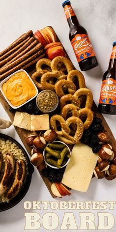 Oktoberfest Charcuterie Board, fall cheese board idea, football recipes for entertaining, pretzels and cheese, beer inspired recipe, how to celebrate oktoberfest Easy To Make Appetizers, Yummy Appetizers, Charcuterie Board, Football Food, Football Recipes, Grazing Platter Ideas, Easy Party Food, Meals For One, A Food