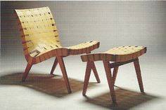 Mid-Century Danish Modern Webbed Chair & Ottoman