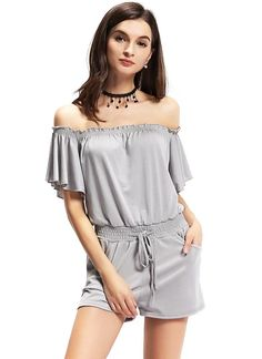 Buy gray s Casual Off Shoulder Elastic Waistband Front Pockets Grey Romper from Chicuu. Best affordable Jumpsuits & Rompers online store, cheap discounts are waiting for you. Off Shoulder Romper, New Fashion, Womens Fashion, Playsuit, Rompers, Style Inspiration, Pockets, My Style, Grey