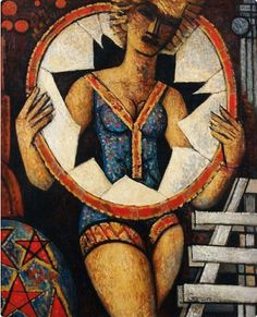 Painting by Marcel Gromaire (1892-1971), Girl with a paper hoop.