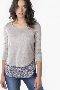 Chandail gris avec chiffon floral - Vêtements