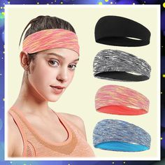 4 Pack Workout Headband Anti-slip Sweat Wicking Hair Bands for Yoga Running Tennis Sport Athletic Exercise Headbands Fit All Women Men (This is an affiliate pin) #headbands #haircare