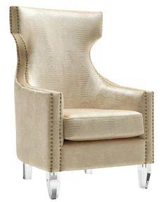 Gramercy Gold Velvet Acrylic Wood Wing Chair