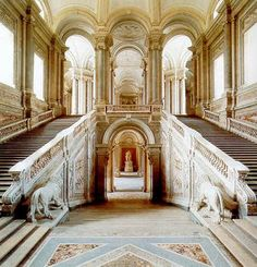 PALACE OF CASERTA, Italy: was created by Charles III of Spain when he occupied the Kingdom of Naples in the century. Caserta was built to rival Versailles & the Royal Palace in Madrid. It is exceptional for the way in which it brings together a