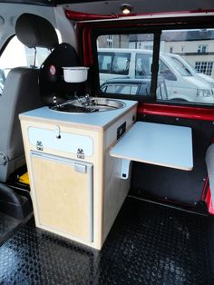 The Cambee Kitchen Pod This pod kit has all you need for a simple camper or day van, comes complete with Smev sink hob combo unit , 51 ltr 12v fridge, 12v control panel, 10ltr water container and pump. There is a choice of formica finishes available. These units start from £1250 Check out our website www.cambee.co.uk