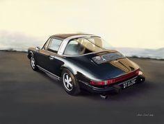 Porsche 911 Targa 1974. Painted by Jonas Linell 2016.#classiccar #vintagecars #racecars #racing #cars #carart #porsche #porsche911