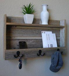 Wood Wall Shelf & Hooks