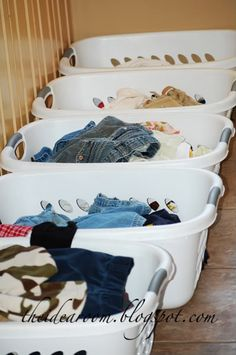 Laundry Tips - Love this Idea: Each child has their own basket and when laundry is dry it gets put into each basket - when kids get home they fold their laundry and then take it to get put away. Great for school-aged kids