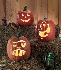 Traditional Jack, Smilin' John, and Big Tooth Magee funny pumpkin designs.
