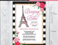 Invitación de ducha de bebé de París. por happyappleprinting