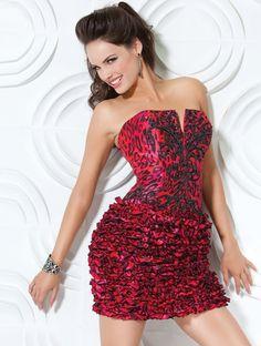 short, strapless, cocktail dress.