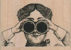 Steampunk Binoculars Lady rubber stamps wood mounted 17170 | pinkflamingo61 - Craft Supplies on ArtFire