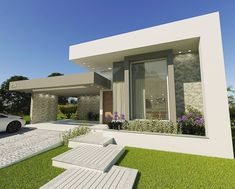 Flat Roof House, Facade House, House Front Design, Small House Design, Modern Architecture House, Architecture Design, Casas Magnolia, Front House Landscaping, Modern Villa Design