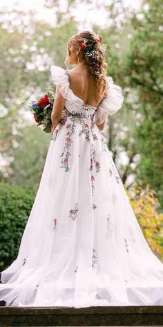 18 Floral Wedding Dresses For Magic Party ❤ floral wedding dresses white a line country nicolemilano ❤ #weddingdresses #weddingoutfit #bridaloutfit #weddinggown Colored Wedding Dresses, Wedding Party Dresses, Bridesmaid Dresses, Party Wedding, Bridal Outfits, Bridal Gowns, Magic Party, Wedding Bells, Floral Wedding