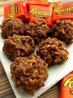 No Bake Reeses Krispy Cookies!!!  <3 Get the Recipe now: http://myincrediblerecipes.com/no-bake-reeses-krispy-cookies/