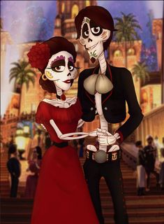Hector and Imelda in red and black in the Land of the Dead from Coco