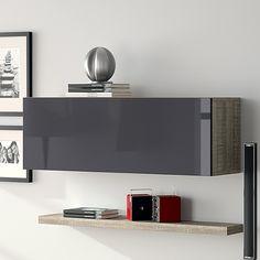 meuble mural horizontal couleur chne gris et anthracite laqu modernefabio