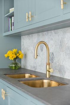 Gold Sinks Gold Sinks,Modern Rustic Chic Kitchen Our Monarch gold sinks make a great match with this Quooker tap in this client's beautiful duck egg blue kitchen. Design and photo: Sola Kitchens Related posts:The. Kitchen Remodel, Kitchen Design, Gold Kitchen, Modern Kitchen, Kitchen Sink Design, Kitchen Room Design, Duck Egg Blue Kitchen, Kitchen Interior, Kitchen Furniture Design