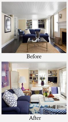 living room makeovers before/after