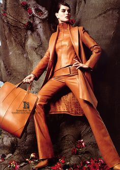 Tan leather fashions. Faux leather fabric available at: http://www.MJTrends.com/categories-Matte-Vinyl,Fabric