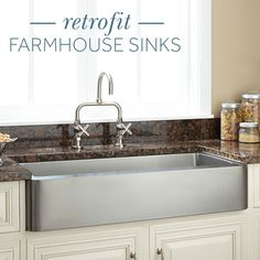 Because of their shorter apron, you can fit a retrofit farmhouse sink into existing cabinetry. Get the beloved farmhouse look without custom cabinets.
