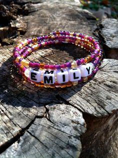 Purple/Gold Personalized Beaded Name Bracelet on Etsy, $8.00