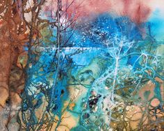 Moonlit Pond - by Ann Blockley Watercolor Negative Painting, Watercolor Trees, Watercolor Artists, Watercolor Landscape, Abstract Watercolor, Abstract Landscape, Landscape Paintings, Watercolor Paintings, Painting Abstract