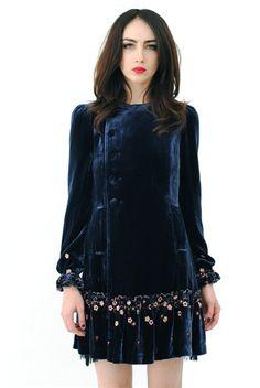 Betsey Johnson Blue Velvet Coat & Dress - I like this under protest. Love the dress dislike the designer.