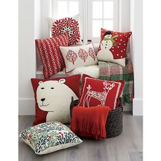 """Dasher 18"""" Red Reindeer Pillow   Crate and Barrel"""