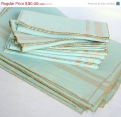 placemats and napkins | ... Sale - Turquoise and Gold Placemats and Napkins, vintage - set of 8