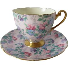 SHELLEY Pink Summer Glory Chintz Ripon Shaped Cup and Saucer from prairiewindantiques on Ruby Lane