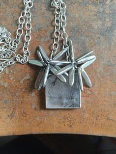 Quartz and pompom necklace