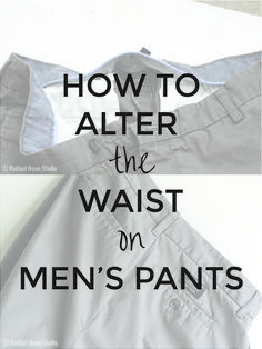 Sewing Men Projects - Need to take in the waist on your husband's pants? Step-by-step tutorial on how to alter the waist on mens pants. I took in the waist of some mens chinos. Sewing Men, Love Sewing, Sewing Clothes, Men Clothes, Hand Sewing, Sewing Hacks, Sewing Tutorials, Sewing Tips, Sewing Ideas