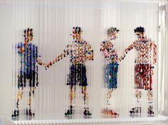 Chris Dorosz, Passing Through, 2008, acrylic paint dripped onto plastic rods  http://www.chrisdorosz.com/