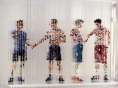 Chris Dorosz, Passing Through, 2008, acrylic paint dripped onto plastic rods  http://www.chrisdorosz.com/