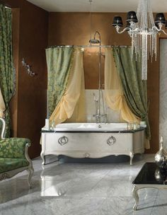 decoration appealing antique style bathroom vanities with undermount bathtub and stainless steel oval shower rail using green patterned curtains also crystal pendant chandelier lighting