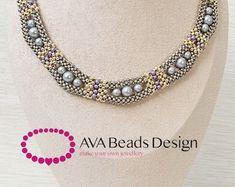 Earrings Mosaic beading pattern | Etsy Diy Necklace Patterns, Beaded Bracelet Patterns, Beading Patterns, Necklace Tutorial, Earring Tutorial, Beaded Cuff Bracelet, Beaded Jewelry, Bangle, Handmade Jewelry