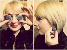 *I SEE YOU!*  Experimenting all the way!    Handpainted.  Material: wood  Ear studs: silver plated