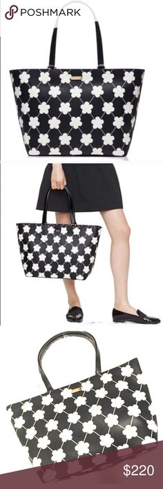 """Kate Spade New York Black & Bone Floral Tote Kate Spade 100% authentic. New with tags. Colors:  black/bone festive floral 11.3""""h x 15.6""""w x 6.2""""d drop length: 9.1"""" MATERIAL saffiano textured grainy vinyl with vachetta split trim capital kate jacquard lining 14-karat light gold plated hardware zip top closure dual interior slide pockets and interior zipper pocket. Gold staple Kate Spade NY signature. 👒 🔺I want your Poshmark experience to be enjoyable. 🔺Thank you for shopping @Posh…"""