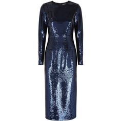 Diane Von Furstenberg Navy Sequinned Dress - Size 16 ($1,745) ❤ liked on Polyvore featuring dresses, sequin dress, sequin cocktail dresses, blue cocktail dress, diane von furstenberg dress and navy blue sequin dress