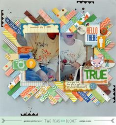 Scrap Your Stash video tutorial.  @Paige Evans shares ideas for using patterned paper barcode strips on a scrapbook page (using the @Amy Tangerine collection). - Two Peas in a Bucket