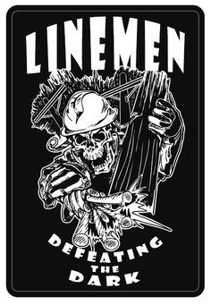 """Linemen Defeating The Dark"" Reflective Window Decal"